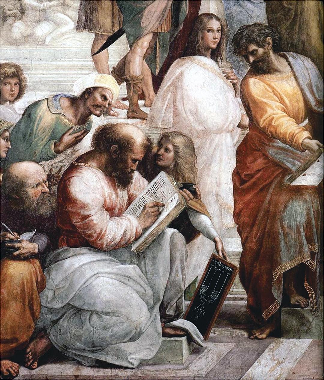 《雅典學院》局部,意大利拉斐爾,1509~1510,濕壁畫。畫中正拿著樂譜在教音樂的老師即是畢達哥拉斯。(公有領域)