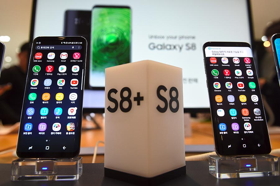 Samsung Galaxy S8。(JUNG YEON-JE/AFP/Getty Images)