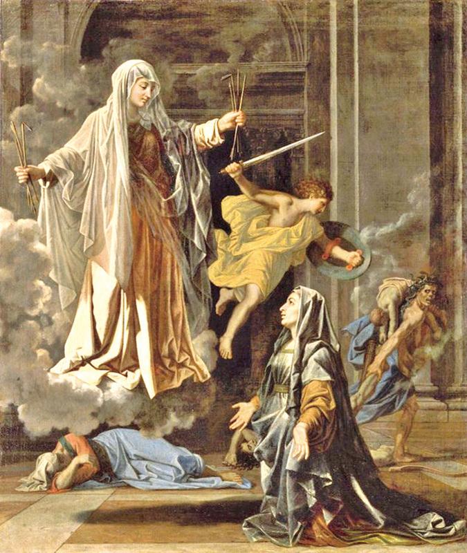 蒲珊《羅馬的聖法蘭蘇瓦顯現》(L'apparition de Sainte Francoise Romaine),1657,120x101cm,羅浮宮藏。(畫中羅馬保護者聖法蘭蘇瓦,兩手抓住瘟神射出來的箭,遏止了疫情。而後方被驅逐的瘟神還帶走了幾個最后的犧牲者。)(wikipedia)