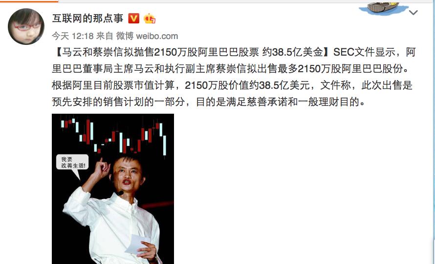 馬雲和蔡崇信將出售至多2,150萬股阿里巴巴股份。(網頁擷圖)