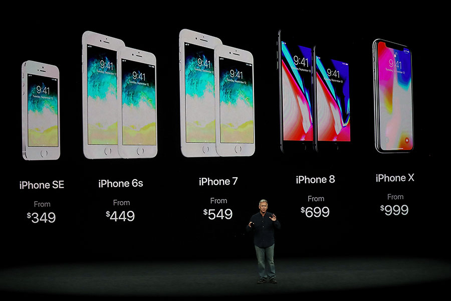 蘋果智能手機各機型的價格(美元計)。(Justin Sullivan/Getty Images)