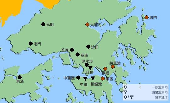 環保署在今日下午4時發佈的空氣質素健康指數顯示,全港16個監測站中,有11個錄得空氣質素健康指數10+爆錶,即健康風險屬嚴重水平。(環保署空氣質素健康指數網頁)