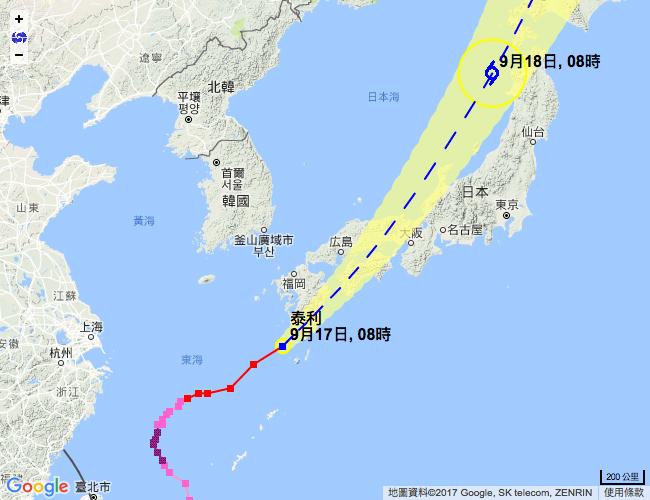 香港天文台表示,泰利會在今日橫過日本,隨後逐漸演變為溫帶氣旋。(香港天文台)