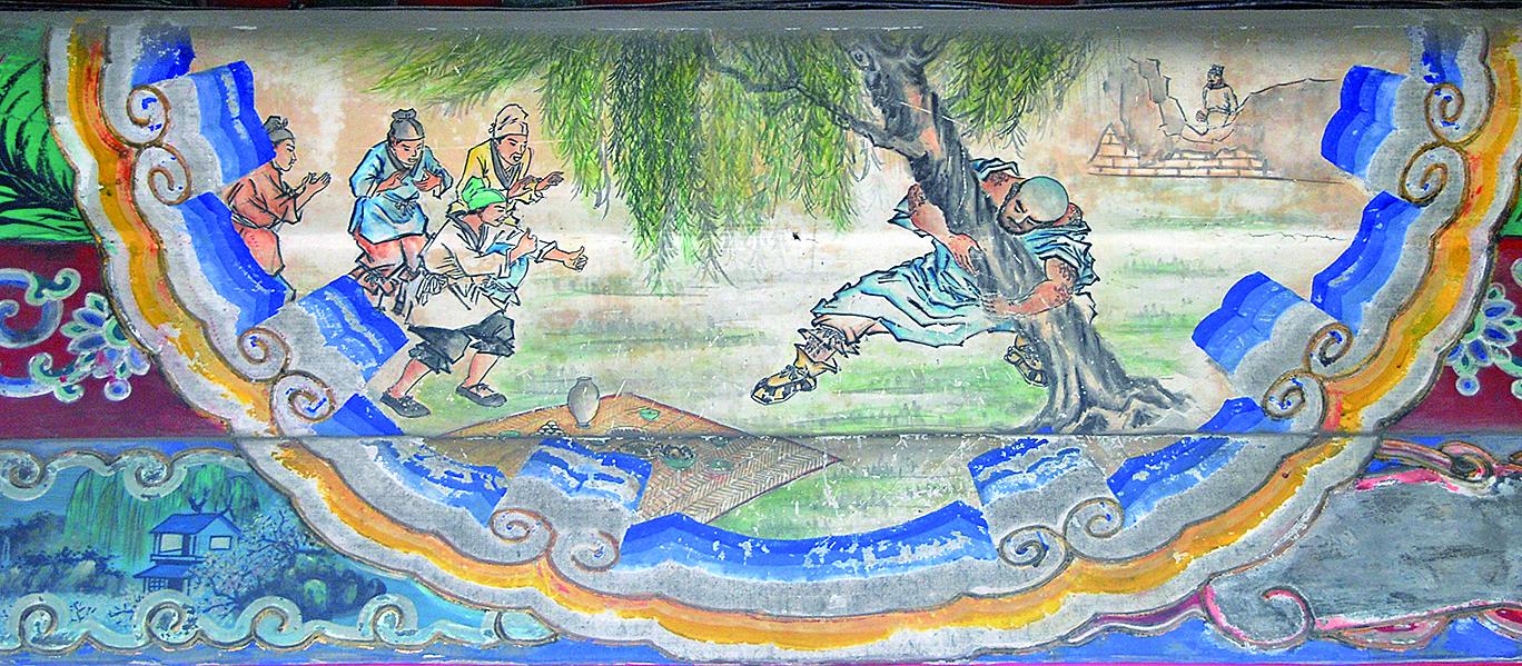 頤和園長廊彩繪〈魯智深倒拔垂楊柳〉(shizhao/維基百科)