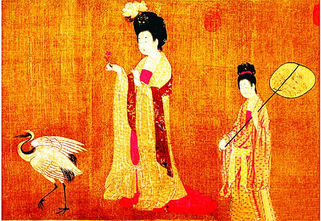 《簪花仕女圖》局部,唐代周昉畫作。(維基百科)