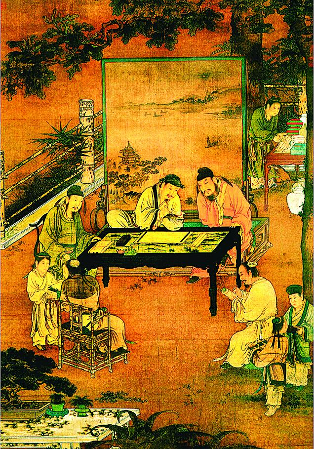 《十八學士圖》局部,南宋佚名畫作。(維基百科)