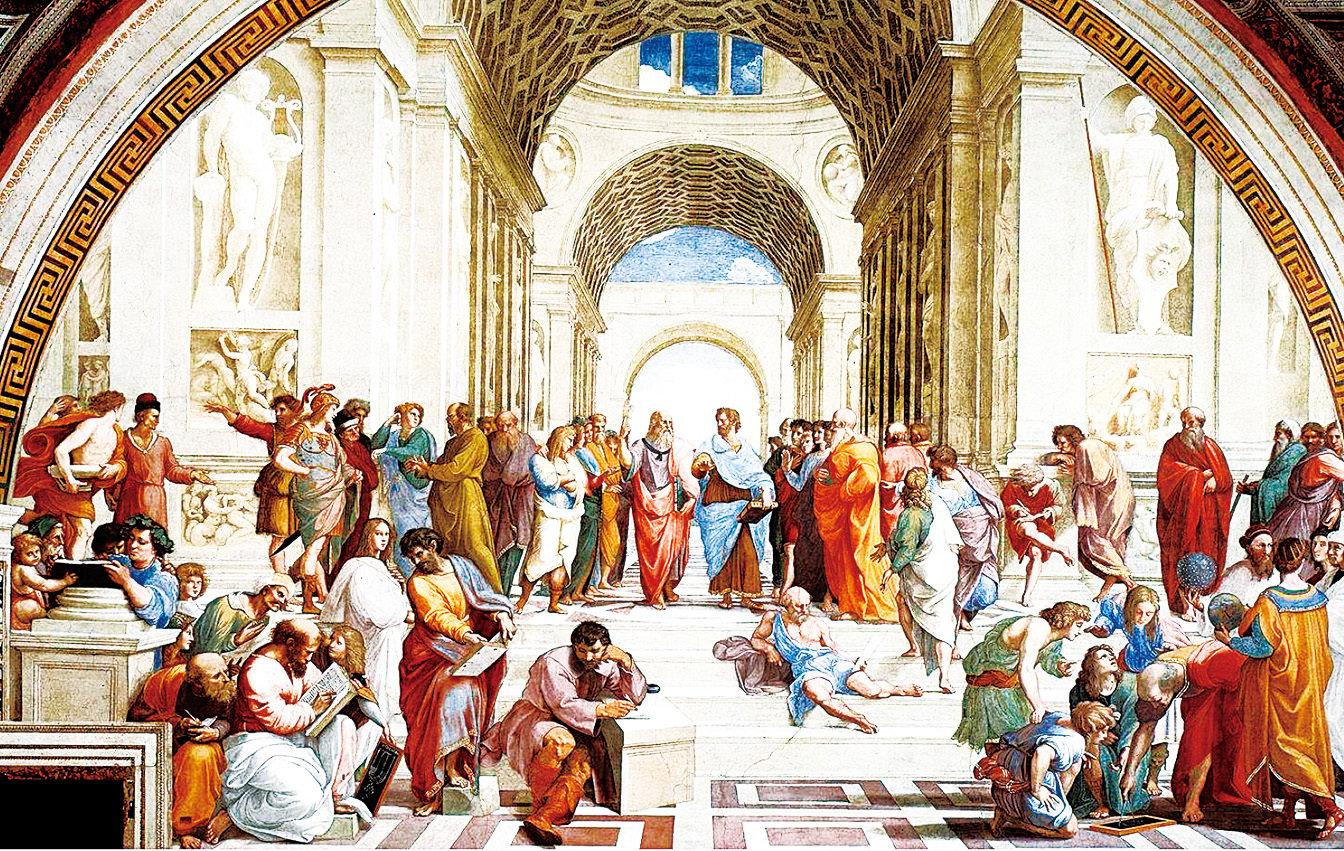 《雅典學院 》,意大利拉斐爾畫作。(維基百科)