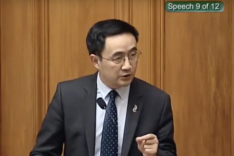 楊健在國會演講中宣傳中共的一帶一路,被新西蘭優先黨領袖Winston Peters稱作「這是北京來的」。(視像擷圖)