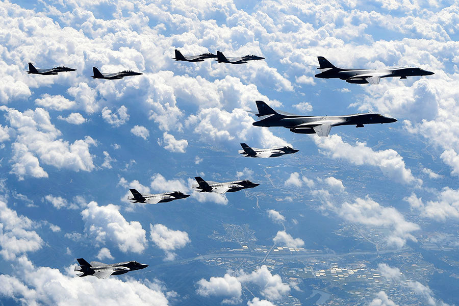 震攝北韓 美軍F-35B、B-1B轟炸機實彈軍演