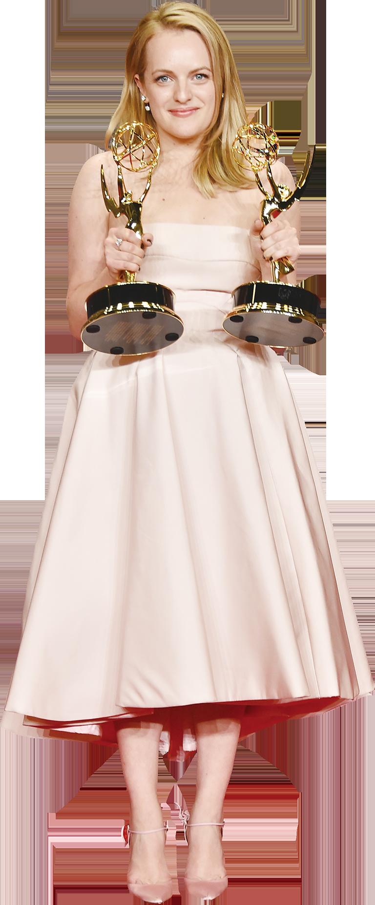 伊莉莎白摩斯(Elisabeth Moss)憑《The Handmaid's Tale》劇首次封艾美視后。(Getty Images)