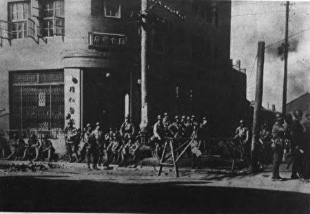 九一八事變中,日本軍進佔奉天市。(公有領域)