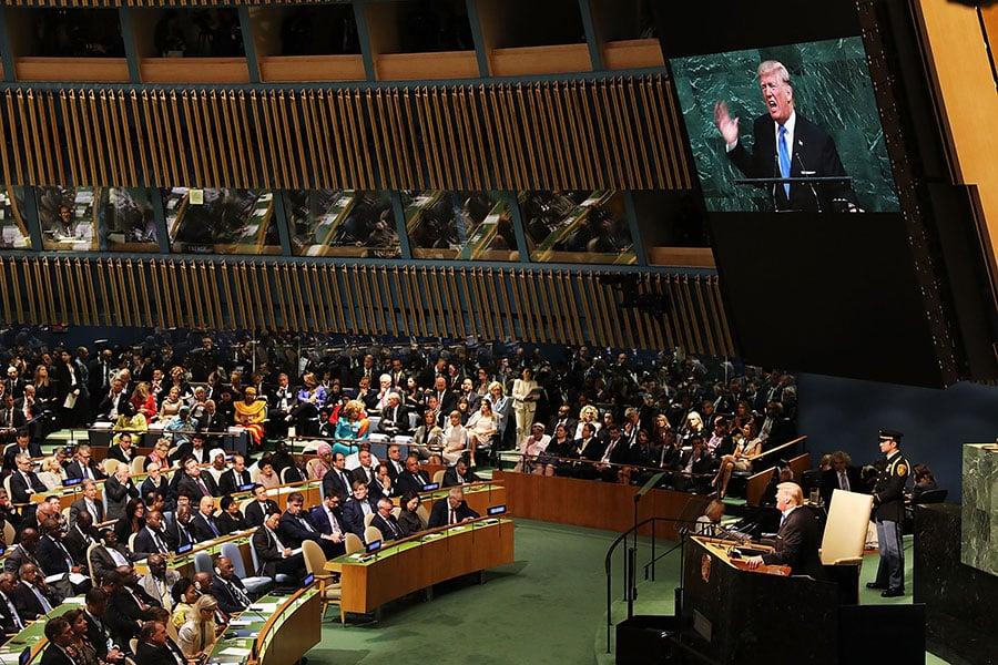 美國總統特朗普星期二(9月19日)在聯合國大會上,除了嚴厲抨擊北韓及伊朗,也批評奉行社會主義及共產主義的國家,指稱委內瑞拉當局為全國人民帶來貧窮及苦難。(Spencer Platt/Getty Images)