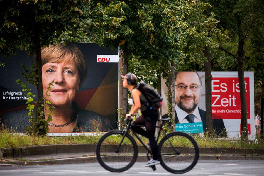距離9月24日的德國大選只剩下幾天的時間了,拉票工作也到了最後衝刺階段。(ODD ANDERSEN/AFP/Getty Images)