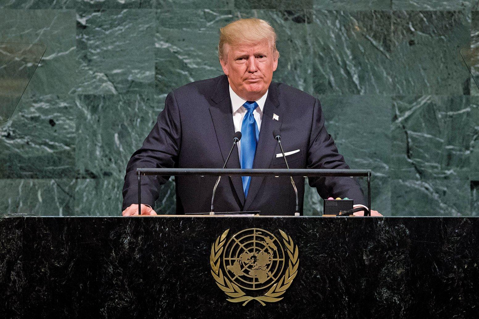 美國總統特朗普周二(9月19日)在聯合國大會上警告,全世界面臨巨大危險:流氓政權在發展核武器,恐怖主義份子在全球擴張。他呼籲各國領導人,加入美國消滅流氓政權和恐怖份子的戰鬥。(Getty Images)