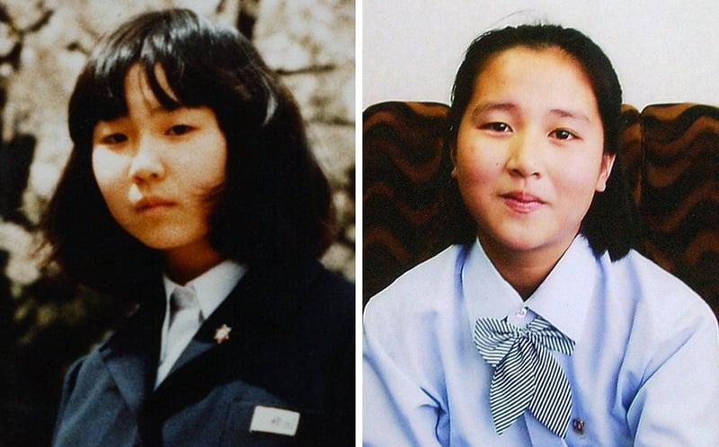 四十年前,日本少女橫田惠被北韓當局綁架,至今下落不明。圖為被北韓綁架的橫田惠(左)和金惠(右)。(JIJI PRESS/AFP)