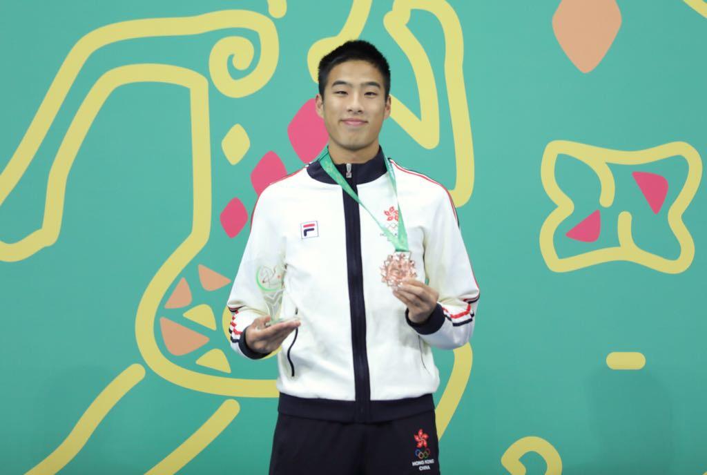 陳銘泰在男子跳遠中以7米44成績獲銅牌。(香港奧委會提供)