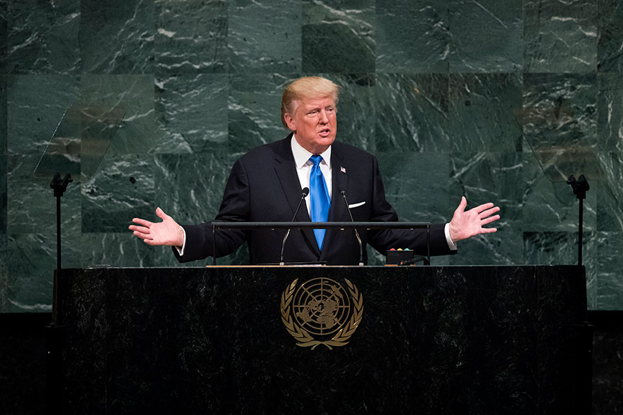 9月19日,特朗普在聯合國發表演說。(Drew Angerer/Getty Images)