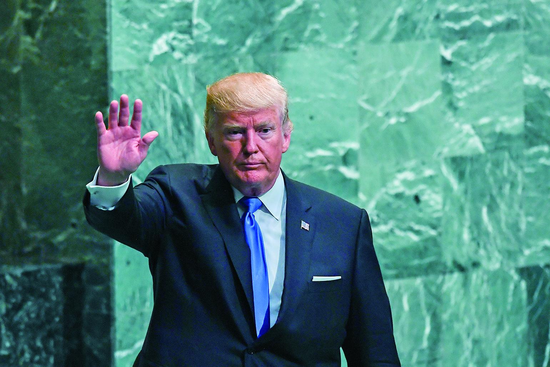 9月19日特朗普在聯合國大會上發表演講。(AFP)