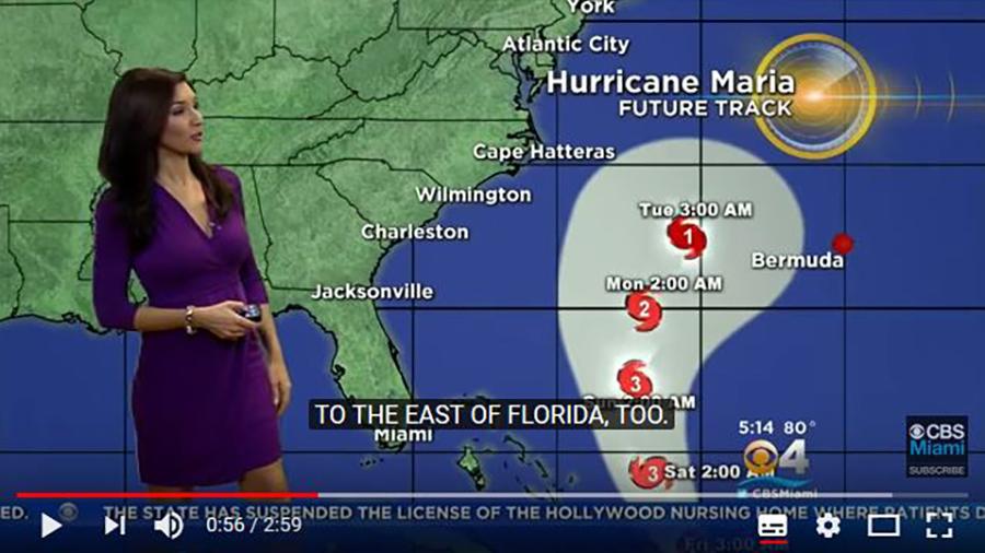 颶風瑪麗亞的路徑。(視像擷圖)