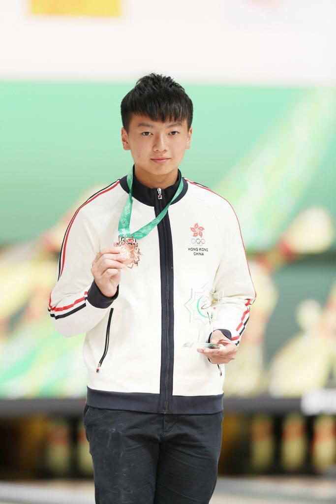 謝晉軒在土庫曼亞室運的保齡球項目為港隊增添1面銅牌。(香港保齡球總會提供)