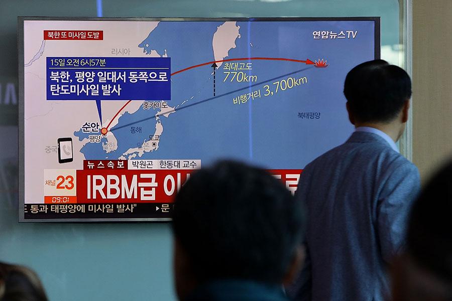 北韓近期頻頻進行核試並發射導彈,引起朝鮮半島局勢緊張。(Chung Sung-Jun/Getty Images)