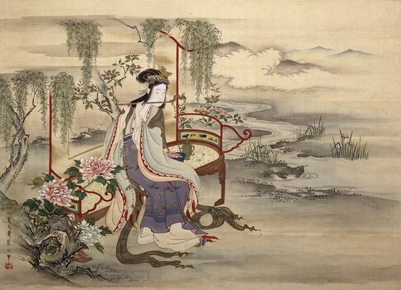 日本畫家細田榮之所繪楊貴妃畫像。(維基百科)