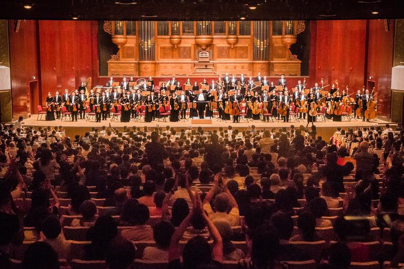 2017年9月22日晚,神韻交響樂團於國家音樂廳舉行演出。售票百分百,爆滿的觀眾不斷喊安可,掌聲不斷。(陳柏州/大紀元)