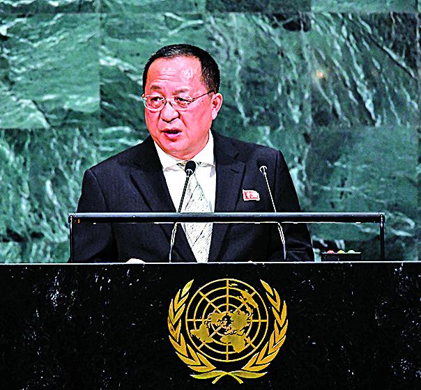 北韓外交部長李勇浩在聯大演說時揚言北韓會以飛彈攻擊美國本土。(Getty Images)