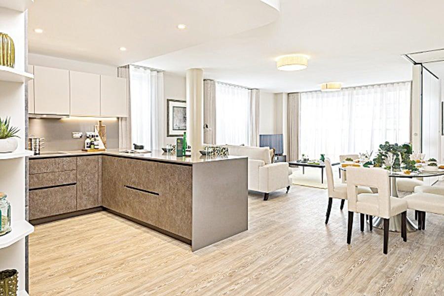 巴斯新樓盤Royal View的開放式廚房。