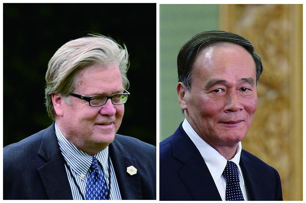 前白宮首席策略師班農上周飛抵北京,與中紀委書記王岐山舉行秘密會晤。(大紀元合成圖)