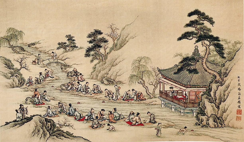 蘭亭曲水圖,1790年山本若麟繪。(公有領域)