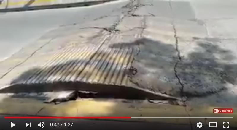 墨西哥地震發生後 路面上下起伏似在呼吸