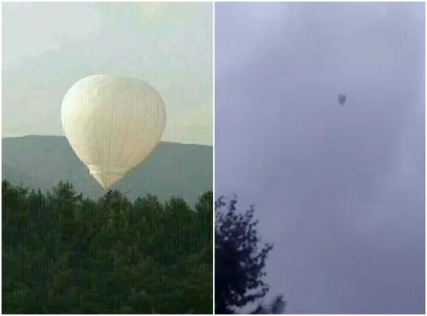 9月20日,吉林省臨江市59歲男子畢克生乘氫氣球採摘松籽時,氫氣球失控飄走,至今已失蹤5天。圖為事發現場,右圖為飄遠的氣球。(網絡圖片)