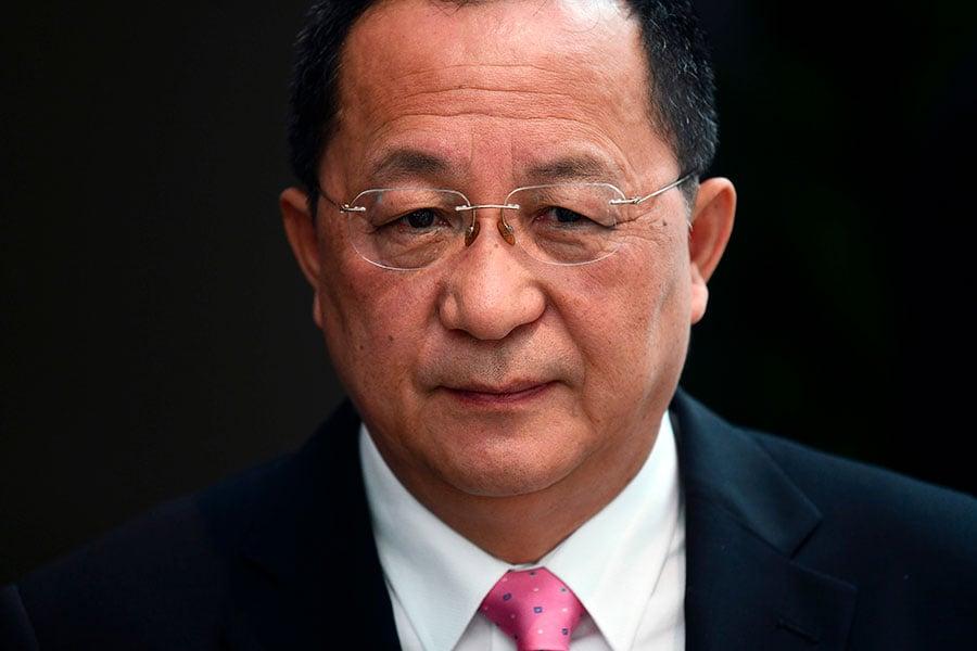 北韓外長李勇浩周一在美國紐約發聲,稱美國總統已經向北韓宣戰,還聲稱北韓可以「還擊」。(JEWEL SAMAD/AFP/Getty Images)