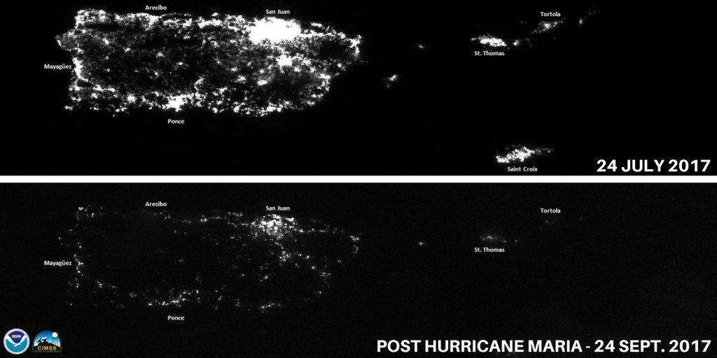兩張衛星圖對照波多黎各遭受颶風摧殘的受損情形。(NOAA)