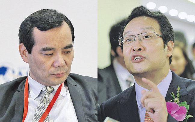 安邦保險集團董事長吳小暉(左)與原保監會主席項俊波(右)關係被指非同一般。(大紀元資料室/AFP)