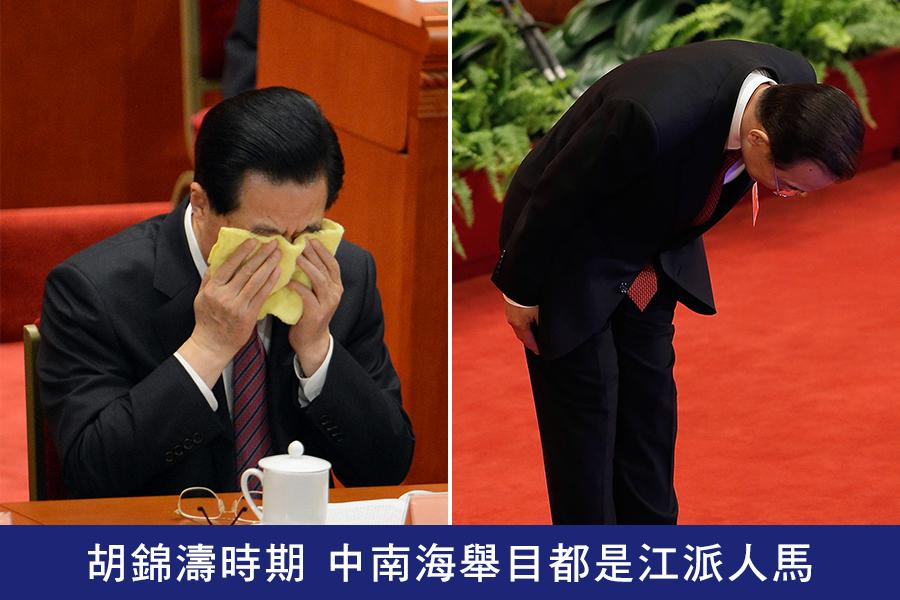 2013年3月,胡錦濤、溫家寶謝幕的中共兩會期間,網絡瘋傳胡錦濤掩面哭泣(左)、溫家寶三鞠躬(右)的照片。(Lintao Zhang, GOH CHAI HIN/AFP)
