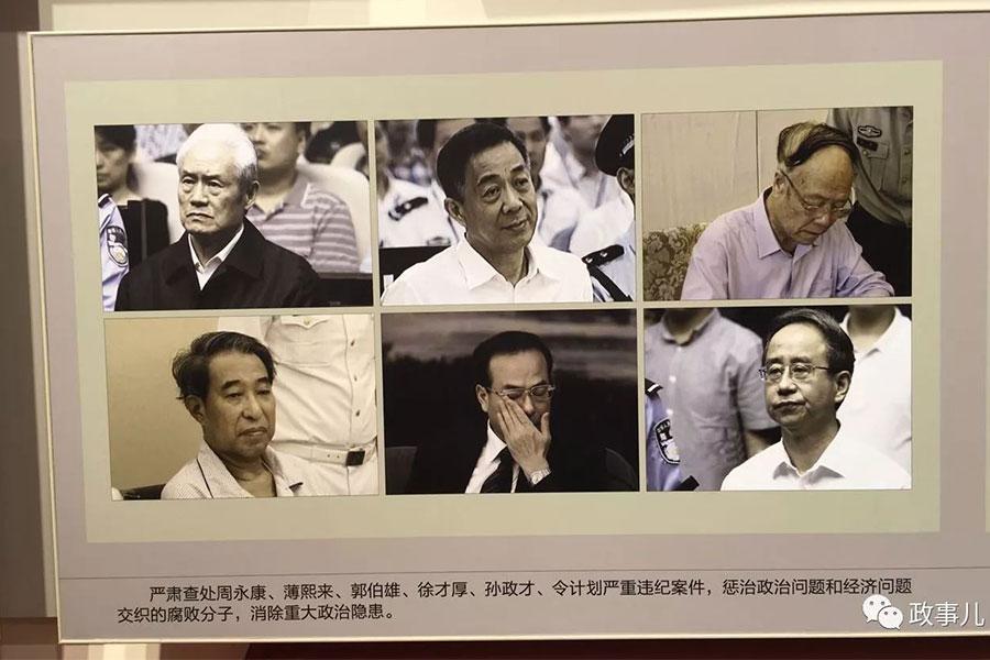 孫政才上周五被宣佈「雙開」。圖為官方宣傳展中的落馬老虎同框出鏡。(網絡圖片)