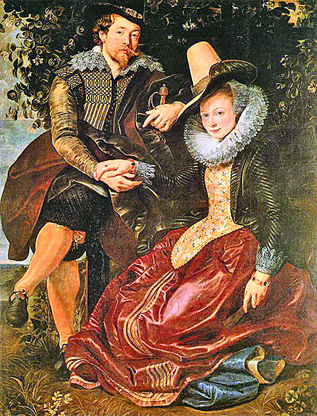 魯本斯是位熱情澎湃,豐富多產的畫家,圖為他在1609年為結婚而做的作品「畫家與妻子」,油畫,178 x 136.5cm,現藏於德國慕尼黑舊美術館(AltePinakothek)。(台灣故宮博物院提供)