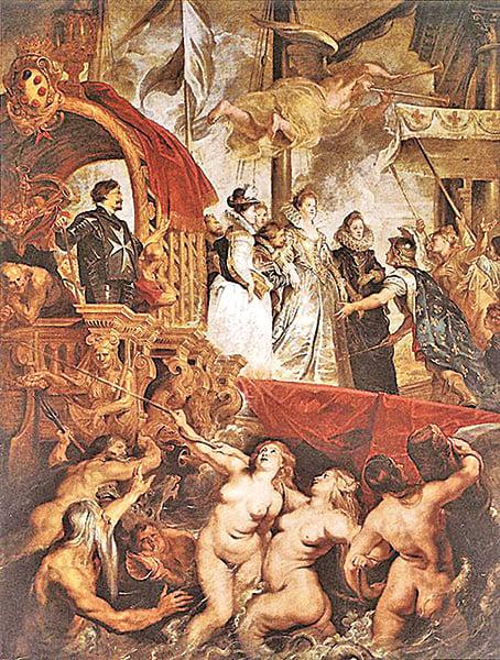 魯本斯為巴黎的盧森堡宮製作的「瑪莉.麥第奇的生平」系列作品,此為其中一幅「瑪莉.麥第奇皇后在馬賽登陸」,油畫,1623至1625年,394 x 295cm,現藏於巴黎羅浮宮。天上人間渾然一體。(Getty Images)