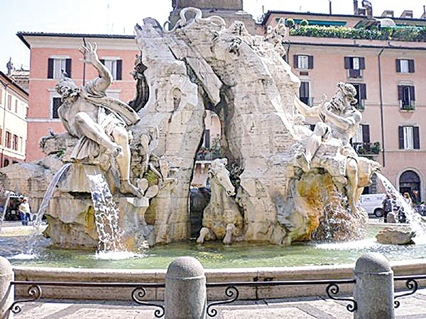 貝尼尼的雕刻「四河噴泉」。(攝影/史多華)