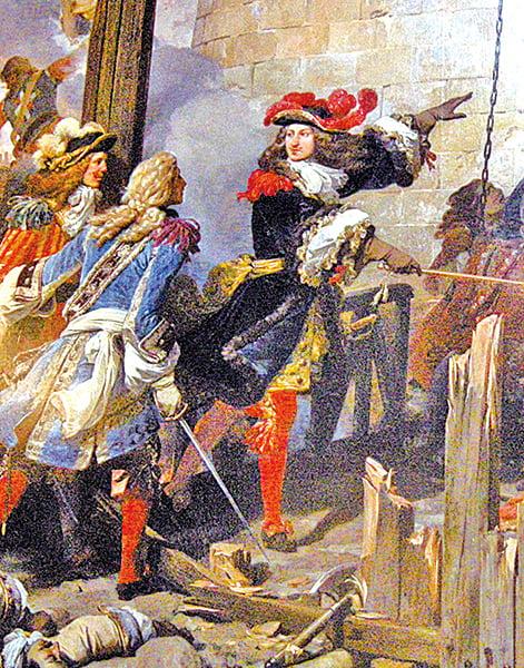 凡爾賽宮的歷史畫「突襲佔領瓦倫西亞的路易十四」。(攝影/史多華)
