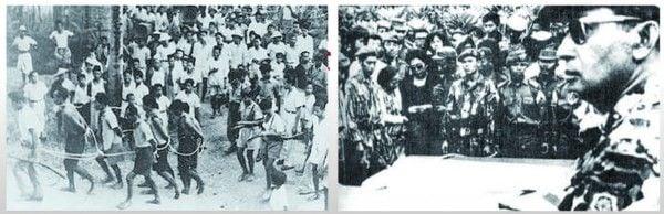 印尼反共大清洗中,大批華裔無辜成為受害人。(左:資料畫面)蘇哈托出席未遂政變中遇難軍方將領的葬禮。(右:印尼政府)