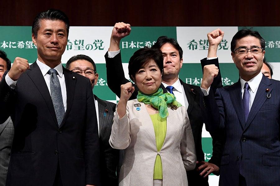 圖為9月27日,由東京都知事小池百合子新成立的政黨希望之黨舉行(TOSHIFUMI KITAMURA/AFP/Getty Images)