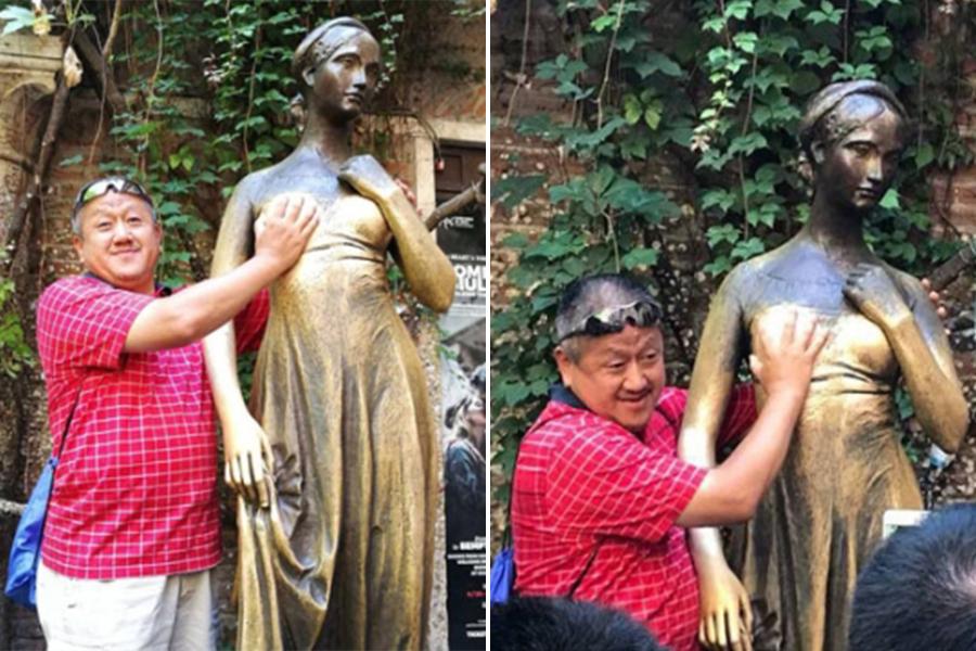 孔慶東到意大利維羅納(Verona)旅遊時,當眾「胸襲」茱麗葉雕像的照片,被網民罵翻天。(網絡圖片)