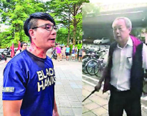 台灣大學提供場地讓中國選秀節目辦活動卻發生濺血衝突,有學生被台灣統促黨成員毆傷。(翻攝自田昀凡Facebook)