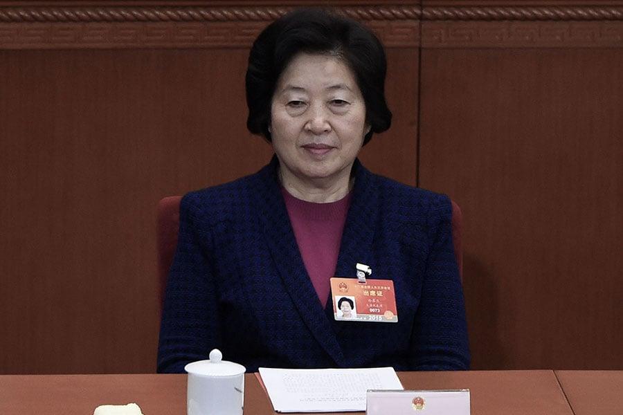 孫春蘭當初接替令計劃任中共統戰部長時,就有傳言是明升暗降,加上她具有江派背景,前途難料。(WANG ZHAO/AFP/Getty Images)