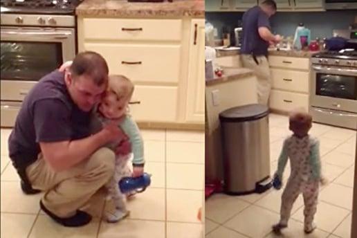 1歲寶寶被爸爸打屁股,沒想到他非常生氣,跟爸爸理論了數分鐘,之後跟爸爸擁抱和好。(影片截圖/大紀元合成)