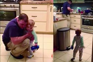 不滿被父打屁股 1歲寶可愛反擊