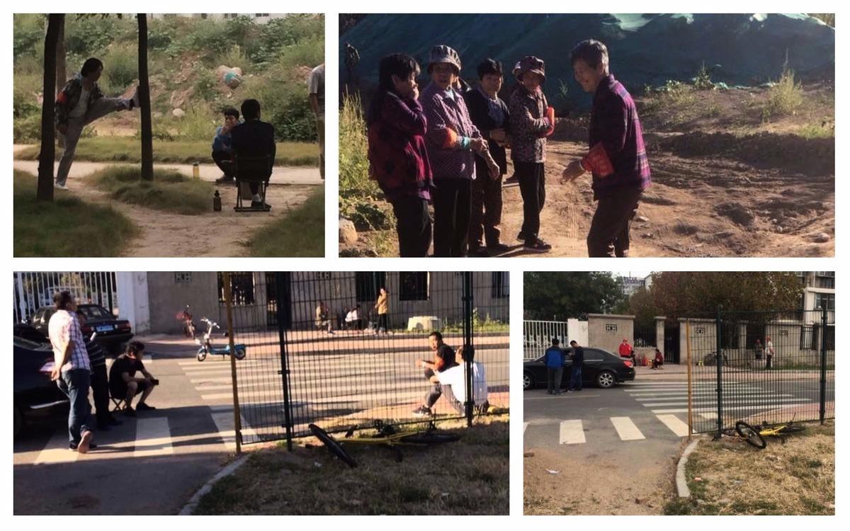 近30人的維穩隊伍佈滿訪民住家出入路口,氣氛緊張恐怖。(訪民提供)